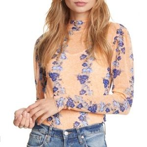 Free People Sheer Top Light Combo Amber Floral